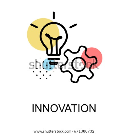 Innovation icon with light bulb and gear on white background with illustration design.vector