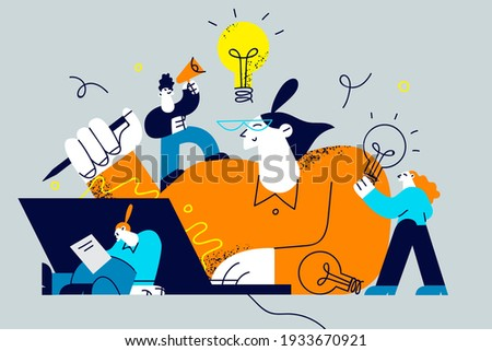 Innovation, improving career, business start concept. People workers cartoon characters searching for new ideas and decisions rising career to success filled with thoughts and ideas illustration
