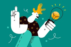 Innovation, inspiration, new ideas concept. Young positive man cartoon character standing holding light bulb in hands inspired and having great idea vector illustration