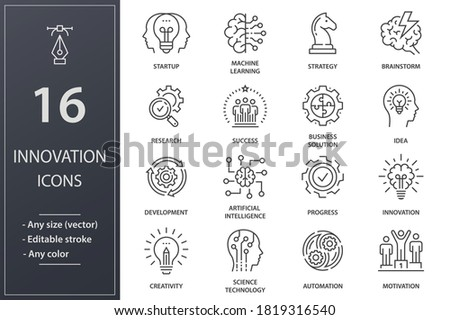 Innovation line icons. Set of development, science, technology, creativity, success and more. Editable stroke.