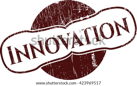 Innovation rubber stamp with grunge texture