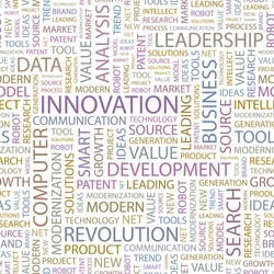 INNOVATION. Seamless vector pattern with word cloud. Illustration with different association terms.