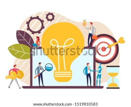 Innovation teamwork fresh idea development concept. Vector flat cartoon graphic design illustration