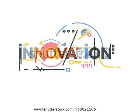 Innovation text banner concept. Thin and thick lines illustration. Circles and squares. Geometric text and letters, abstract shapes. Linear modern, trendy vector banner.