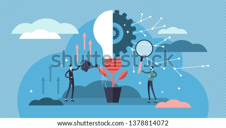 Innovation vector illustration. Flat tiny creativity ideas persons concept. Teamwork with solution lightbulb symbol. Imagination vision analysis and invention research. New and original information.