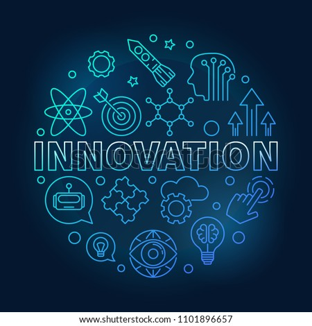 Innovation vector round blue illustration made of innovations icons in outline style on dark background