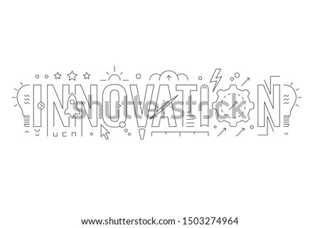 innovation word and innovation symbols. innovation concept design. vector illustration