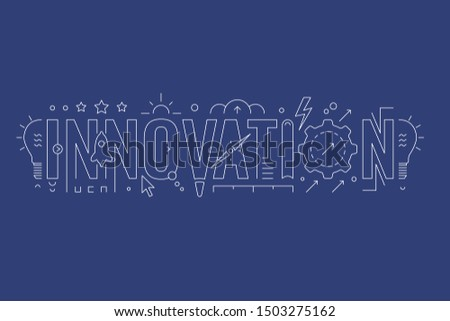innovation word and innovation symbols. innovation word on dark ground