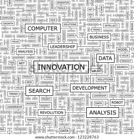 INNOVATION. Word collage. Seamless pattern.