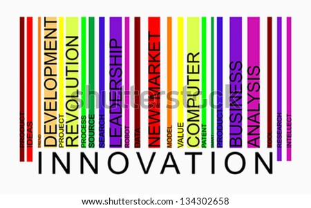 Innovation word concept in barcode with supporting words, modern, concept, vector