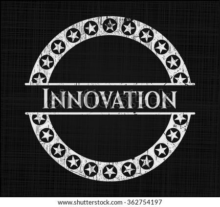 Innovation written on a blackboard