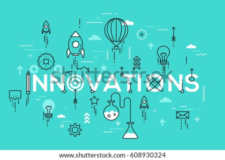 Innovations, innovative ideas, devices and methods, effective solutions and inventions. Modern Infographic banner with elements in thin line style. Vector illustration for presentation, website.