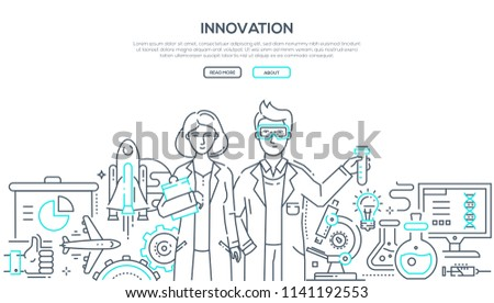 Innovations - line design style isolated illustration on white background with place for your text. Two young scientists and important world discoveries in chemistry, medicine, space, social media