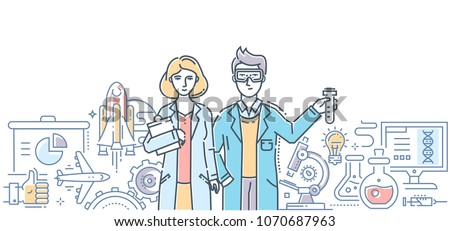 Innovations - modern flat design style isolated colorful illustration on white background. An image of two young scientists and important world discoveries in chemistry, medicine, space, social media