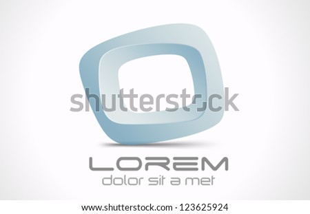 Innovative abstract 3D logo design template.  Rhombus Vector icon. Creative.
