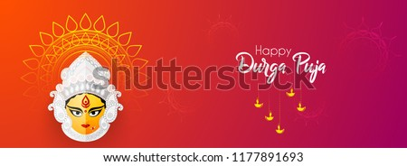 Innovative abstract or poster for Shubh Navratri with nice and creative Maa Durga design illustration, Shubh Navratri, Durga Puja.