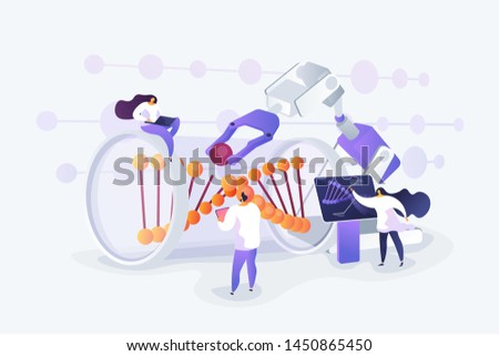 Innovative biotechnology. Medical, biological research. DNA recombination. Genetic engineering, genetic modification, genetic manipulation concept. Vector isolated concept creative illustration.