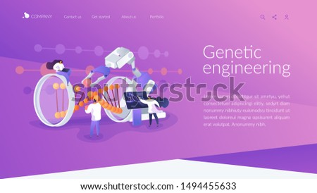 Innovative biotechnology. Medical, biological research. DNA recombination. Genetic engineering, genetic modification, genetic manipulation concept. Website homepage header landing web page template..