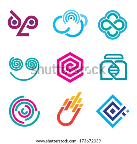 Innovative colorful social network logo science set of icons and outline symbols