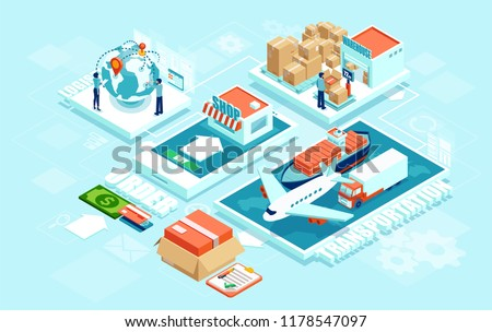 Innovative contemporary smart online order automated delivery logistics network distribution with people machinery: industry 4.0 infographic. Global shipping of cargo by air truck maritime transport