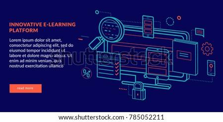 Innovative E-learning Platform Concept for web page, banner, presentation. Vector illustration