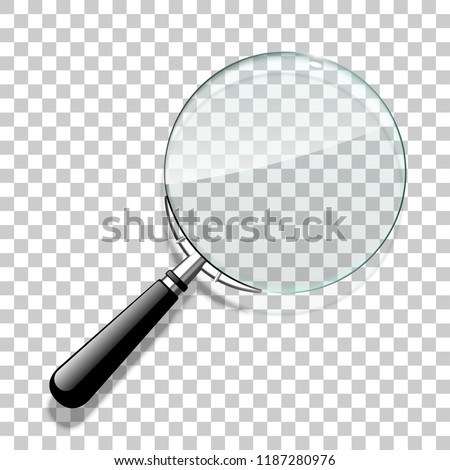 Innovative empty illustration 3d realistic loupe icon isolated on the Checkered backdrop. Creative banner illustration modern design magnifying glass logo for Zoom Tool with black handle with shadow