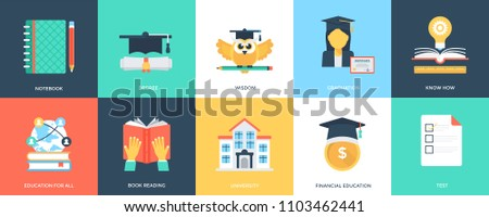 Innovative Flat Education Icons