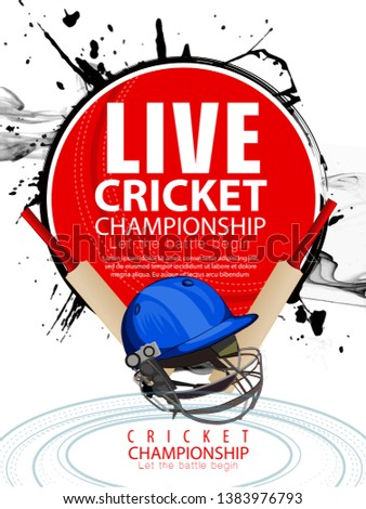 innovative illustration of Player helmet on cricket championship sports background