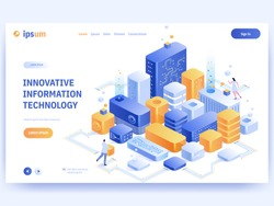 Innovative information technology concept banner template. People work in abstract virtual space, build from blocks, develop programs or products, online communication. Vector character illustration