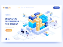 Innovative information technology concept banner template. People working at laptops near blocks or cubes, programming code, online communication. Blockchain system.  Vector character illustration