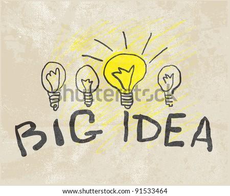 Innovative lamp. Big idea - stock vector