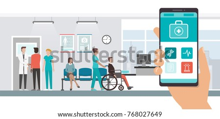 Innovative medical app on a smartphone and hospital with doctors and patients on the background, healthcare and technology concept