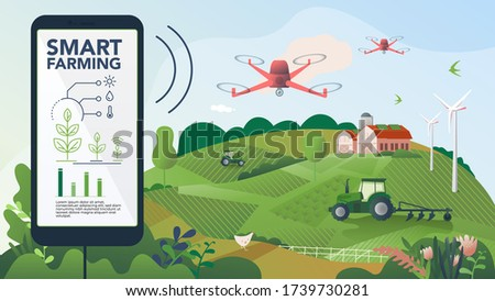 Innovative technology for agricultural companies. Agricultural automation with remote tractor control. Illustration of a smart farm with drone control. Template for web, print, and report.