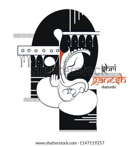 innovative vector illustration of Lord Ganpati on Ganesh Chaturthi with creative design illustration of Lord Ganesha. background