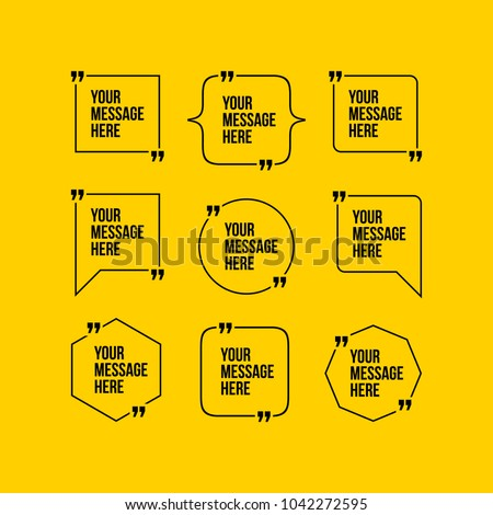 Innovative vector quotation template in quotes against the Yellow backdrop. Creative vector banner illustration with a quote in a frame with quotes. Color paper template modern typography design.
