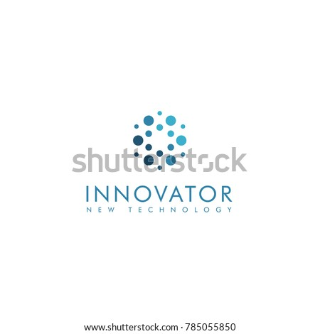 Innovator abstract circles shape group, blue color stylish vector logotype.