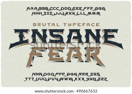 insane fear brutal font with...