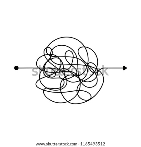 Insane messy line. Complicated clew way. Tangled scribble vector path. Chaotic difficult process way illustration