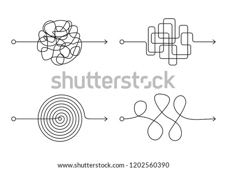 Insane messy line set, complicated clew way on white background. Tangled scribble path, chaotic difficult process way. Curved black line, solving a complex problem or quest. Vector illustration ストックフォト ©
