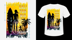 Inscription California, Los-Angeles Surf. Girl with surfboard on beach, silhouette running woman against sunset, palm trees. Geometric shape. Design for t-shirt, print, card. Vector Illustration