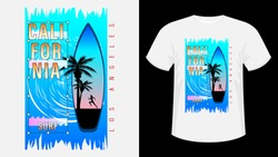 Inscription California, Los-Angeles Surf. Surfboard, silhouette of running woman against sea wave, sunset and palm trees. Geometric shape. Concept design for t-shirt, print, card. Vector Illustration