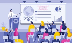 Inscription Environmental Protection Conference. People Sit in Conference Room and Listen to Speaker. Male Speaker Stands Behind Desk and Shows on Chart Data Pollution Planet. Vector Illustration.