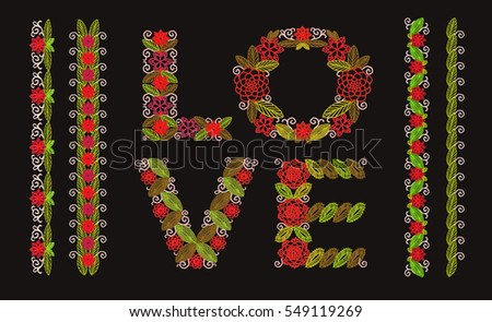 inscription love of embroidered