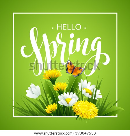Inscription Spring Time on background with spring flowers. Spring floral background. Spring flowers background design for spring EPS10
