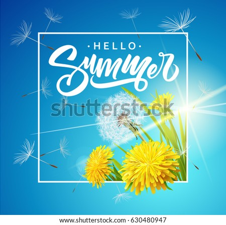 Inscription Summer on background with summer flowers