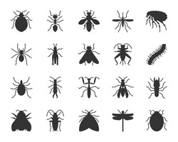 Insect black glyph icons set. Pest sign kit. Beetle pictogram, dragonfly, fly, spider, bug, bee. Simple insect silhouette icon symbols isolated on white Vector Illustration