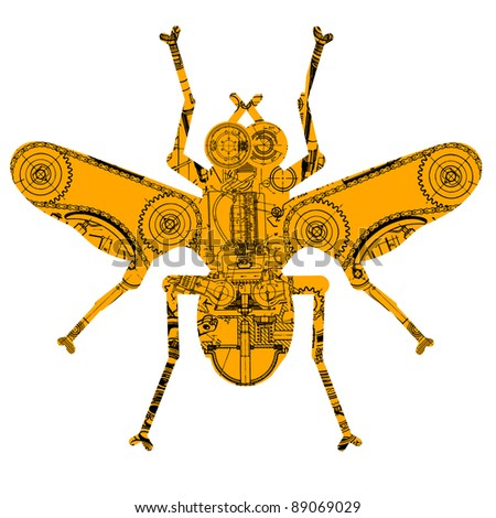 insect consisting of various technical drawing