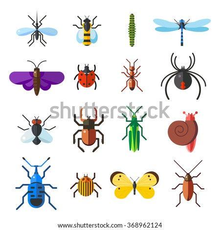 insect icon flat set isolated