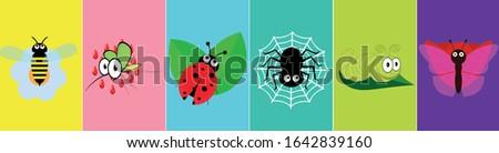 insect icon set kawaii wasp