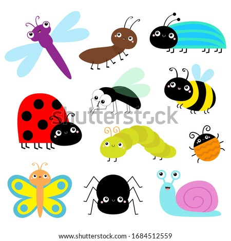 Insect icon set. Lady bug Caterpillar Butterfly Bee Beetle Spider Fly Snail Dragonfly Ant Lady bird. Cute bugs. Cartoon kawaii funny doodle character. Flat design. White background Vector illustration